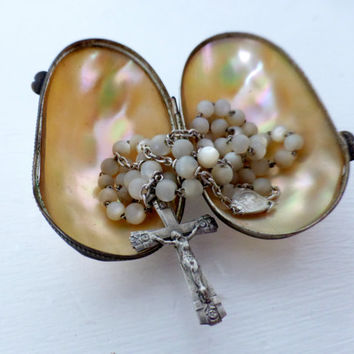 Antique French, Mother Of Pearl And Silver Rosary And Clam Shell Box, SHIPPING INCLUDED