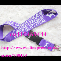 NEW -Hot 10pcs/lot love pink Lanyard for MP3/4 cell phone key chain lanyard purple