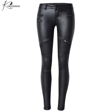 Fake Women's Leather Pants Zippers Capris Long Pants Women Trousers Skinny Pencil Pants Female Bottom Ladies Black Trousers 2017