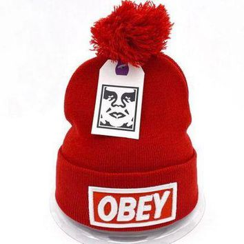 onetow One-nice? Perfect Obey Women Men Embroidery Beanies Knit Wool Hat Cap