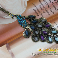 Womens Beautiful Peacock Necklace With Colourful Crystal