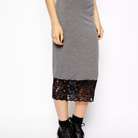 Hem Lace Knitted Midi Skirt