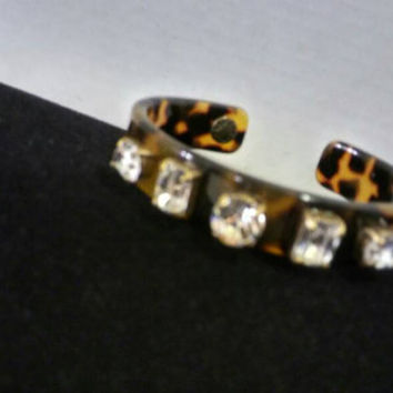 Vintage Brown Lucite & Rhinestone Cuff Bracelet, J. Crew Designer Signed Faux Tortoise Shell Jewelry