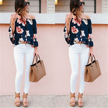 Fashion New Women Sexy Off Shoulder Floral Casual Blouse Summer Tops Beach  Shirt S-XL