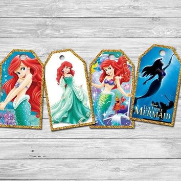 Princess Little Mermaid Thank You Tags Labels Gift Favors Birthday Party Decorations Kids Party Supplies Candy Bag Labels