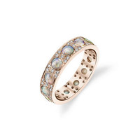 Opal and Diamond Stacking Ring - Rose Gold