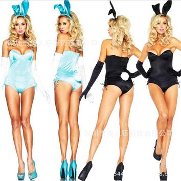 2018new Sexy Black blue Bunny Costume Halloween Rabbit Girl Holloween Clothing nightclub rabbit Jumpsuit Rabbit Cosplay Bodysuit