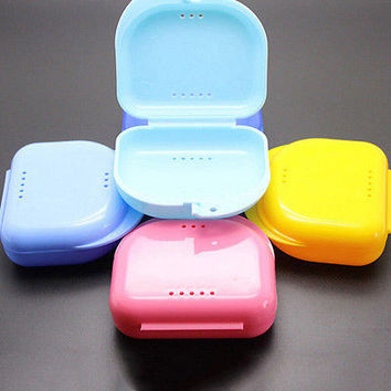 Dental Orthodontic Retainer Denture Storage Case Box Mouthguard Container TrayHU
