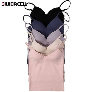 SILVERCELL Sexy Women Modal Adjustable Strap Camis Built In Bra Padded Self Mold Bra Tank Tops Crop Top Shirt