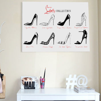 50% OFF . Big Size . Louboutin shoes collection . High heels, sandals. Black shoes. Fashion artwork. Black and white heels. Instant downlaod