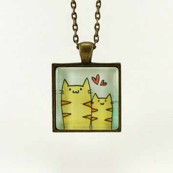 Mom And Baby Cat Necklace Gifts For Mom Mother's by cellsdividing