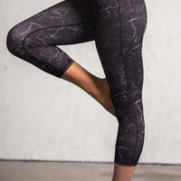 Working For It Marble Stone Print Activewear Leggings (Black)
