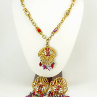 Hobe 1940s Art Deco Pendant Necklace & Earrings