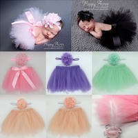 Sweet Newborn Baby Girls Elastic Headband&Tutu Skirt Photo Prop Costume Outfits Infant Costume Outfit Princess Tutu Skirt