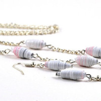 ON SALE Handmade Paper Bead Jewelry Necklace and Earrings Set Pink Grey and White Striped Pastel Tones Recylced