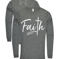 Southern Couture Lightheart Faith Christian Triblend Front Print Long Sleeve T-Shirt