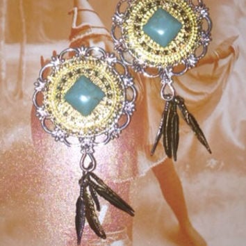 Dreamweaver ornate dream catcher plugs 28 mm w turquoise diamonds n feathers gauges guages