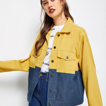 Cut And Sew Patched Detail Jacket