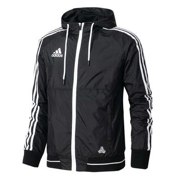 """Adidas"" Men Women Trending Casual Print Zip Cardigan Jacket Coat Sweatshirt Hoodie Windbreaker Black"