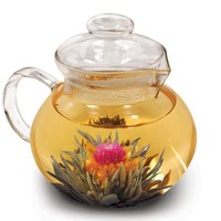 Primula Blossom Glass Teapot - Wide Mouthed Borosilicate Glass - 40 oz. - Dishwasher and Microwave Safe - Clear - Includes 1 Flowering Tea