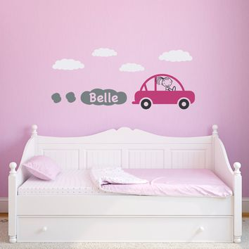 Car Wall Decal with Custom Girls Name - Girl Bedroom Wall Sticker - Personalized Children Wall Decals