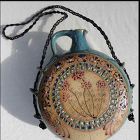 Wine canteen  with hand painted flowers by AnniesArtPottery