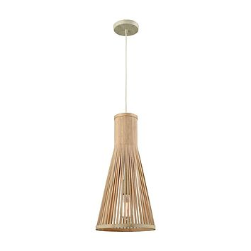 Pleasant Fields 1-Light Mini Pendant in Russet Beige with Natural Wicker Shade