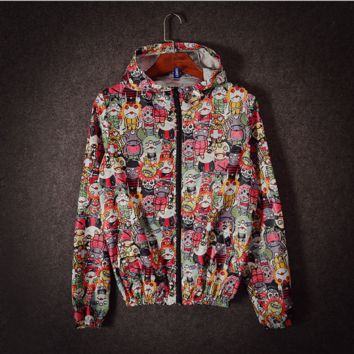 Men 's sun clothes long - sleeved thin paragraph jacket spring and summer casual cartoon printing jacket men' s tide