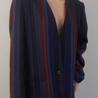 Striped Women's Jacket by Sasson - Blue, Red, and Green Striped Jacket - Size 14/15 - Free US Shipping