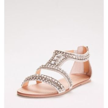 Gem-Encrusted Flat Sandals | David's Bridal
