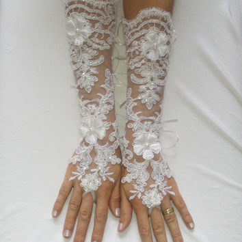 Extra Long White Wedding gloves 3D flower free ship 239