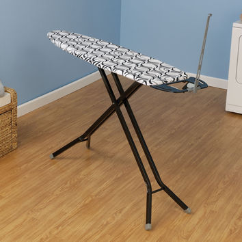 Household Essentials Fibertech Top Black Finish Deluxe Rectangle 4 Leg Ironing Board With Natural Cotton Cover 026663281136