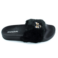 Bee2 Black by Soda, Children's  Bee Embroidered Patch, Faux Fur Slip On Slippers. Kid Shoe