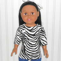 Black and White Tee Shirt with Zebra Stripes for 18 inch Girl Doll Clothes