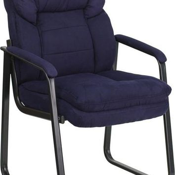 Navy Microfiber Executive Side Chair with Sled Base