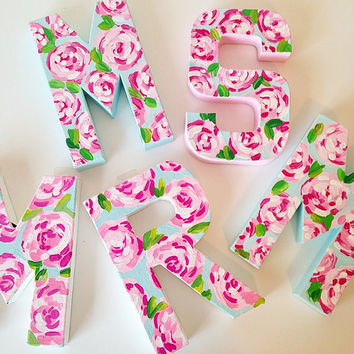 8 in. Lilly Pulitzer Inspired FIRST IMPRESSIONS Painted Letters