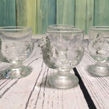 Vintage Clear Glass Hen Egg Cups . French Chicken Egg Cups . Set of Four Egg Cups .