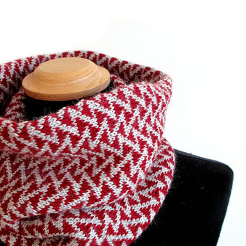 Womens knit cowl, Hand knit cowl, alpaca scarf in red and grey