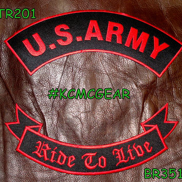 U.S. Army Ride to Live Embroidered Patches Red & Black Military Patch Set for Jackets