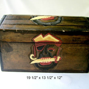 Pirates Wood Treasure Chest Toy Box Storage Home Decor Hand Made Carved