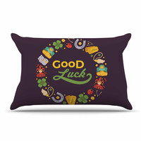 "KESS Original ""Good Luck!"" Maroon Multicolor Pillow Case"