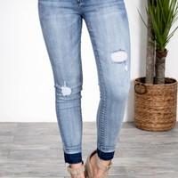 Cropped Fit Light Wash Skinny Denim