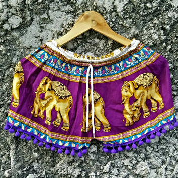 Pom pom shorts Boho Chic Fashion Gypsy Aztec Beachwear Hobo exercise yoga Clothing Bohemian Elephant pattern Hobo Summer Clothes in purple