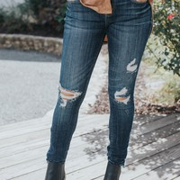 Jude Mid Rise Skinny Ankle Jeans, Majestic Dark