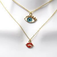 Barbie, funny, unique, eye and lips, face, blue, eye, red, lips, tiny, layered, minimal, jewelry, gift, necklace, layering necklace