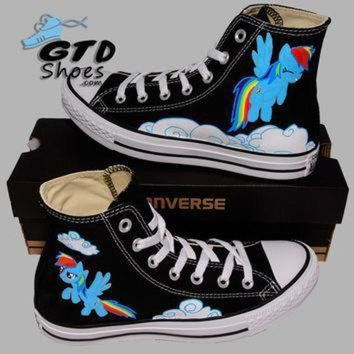DCCK1IN hand painted converse hi my little pony rainbow dash cartoon handpainted shoes