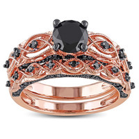 Miadora 10k Rose Gold 1 2/5ct TDW Black Diamond Bridal Ring Set | Overstock.com Shopping - The Best Deals on Bridal Sets