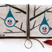 "Tobacco Pouch- Cotton hand painted tobacco pouch with the illustration ""Birdrop"" by Noe's Mind"