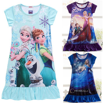 Elsa summer girls dress nightgown kids dresses for girls night gown Pajamas night dress Kids Sleepwear Pyjamas girls clothes