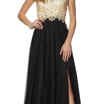 Juliet 636 Black Beaded Bodice Cap Sleeve Prom Gown with Slit and Train